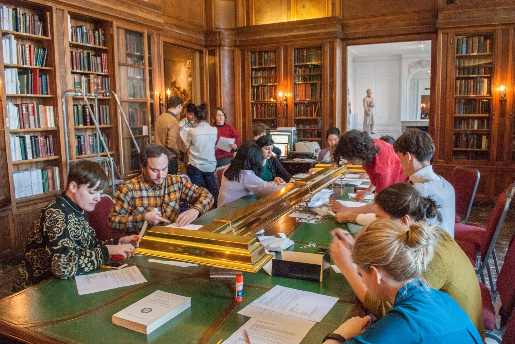 The volunteer team working in the library on April 17, 2016