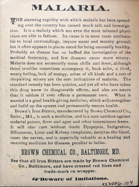 Article Promoting Brown's Iron Bitters as a cure for Malaria