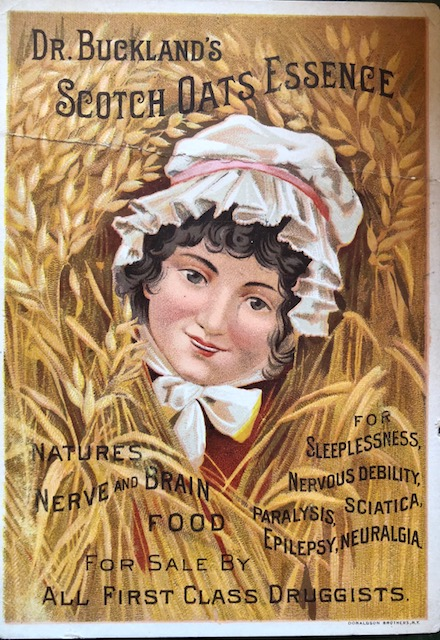 Trading card featuring a woman surrounded by oat, promoting Dr. Buckland's Scotch Oats Essence