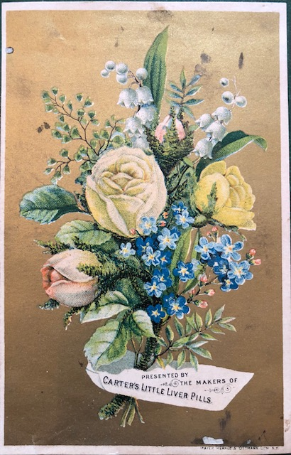 Floral illustration promoting 'Carter's Liver Pills'