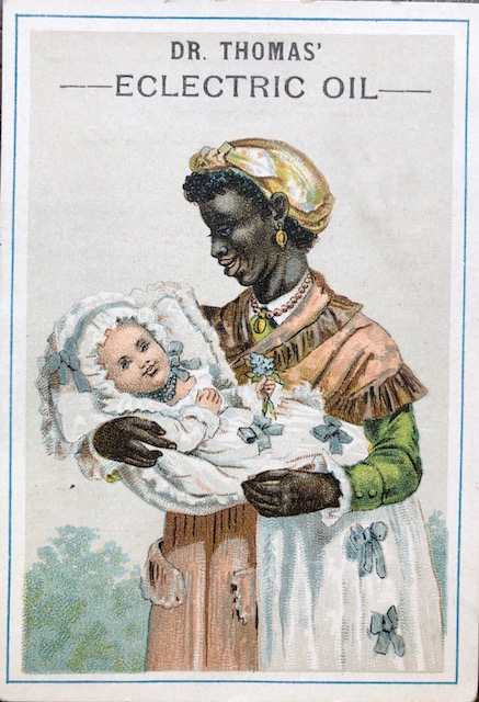Graphic of a woman holding a baby from Dr. Thomas' Eclectric Oil