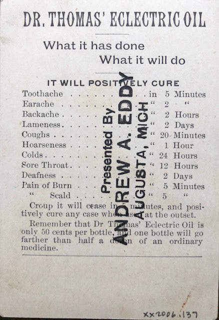 a label on Dr. Thomas' Eclectric Oil, listing ailments it cures