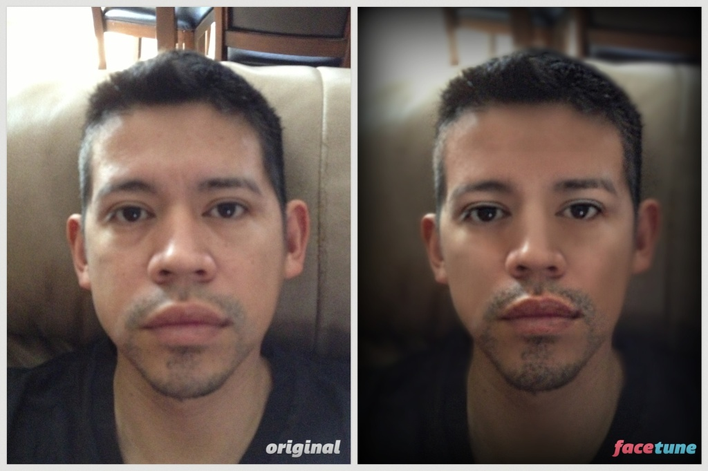 The image is two photos of the same man looking straight ahead at the Camera using the photo editing app Facetune. The photo on the left is an unfiltered version of the photo. The photo on the right is filtered, blurring the man's skin which erases imperfections. The filter also slims his face and enlarges his eyes.
