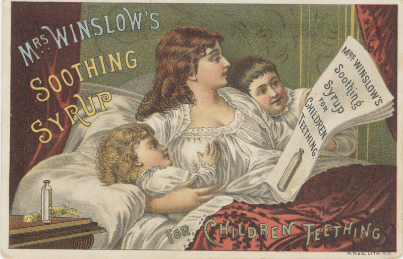 "A second advertisement for ""Mrs. Winslow's Soothing Syrup"" from 1886. In this image, a mother sits in bed with her two children while reading advertising for the syrup. The actual medicine is on the bedside table and has either just been given to the children or is about to be given to the children."