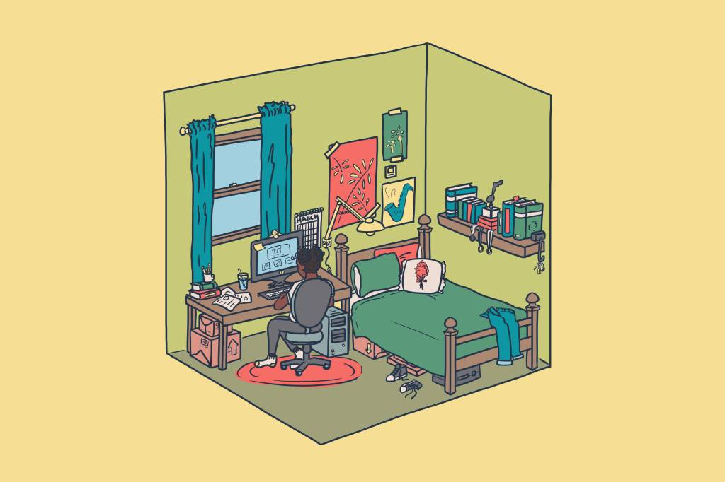 A drawing of a girl sitting alone in her room at a computer