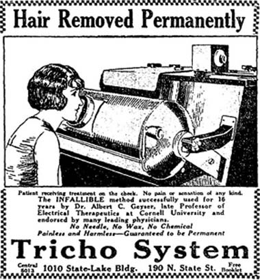An advertisement for Tricho Hair Removal System. The woman in the ad's drawing is holding her face up to a large x-ray machine to remove her facial hair.